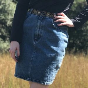 Don't Stop 90s Gold & Black Denim Skirt